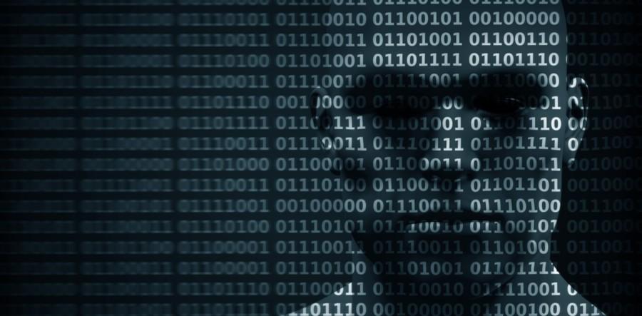 Face behind binary code